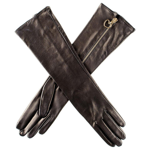 Long Leather Gloves with Heart Zip - Silk Lined