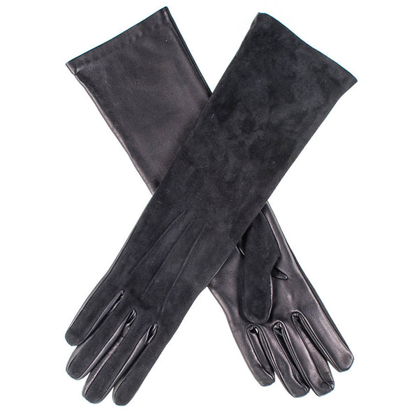 Long Black Suede and Leather Gloves
