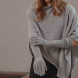 Long Grey Italian Cashmere Gloves
