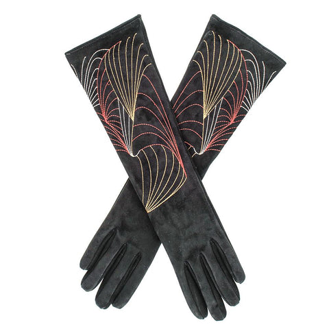 Embroidered Long Suede Gloves