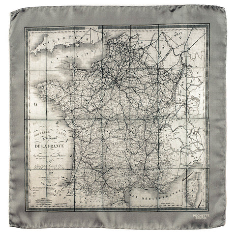 'Old France' Italian Silk Pocket Square
