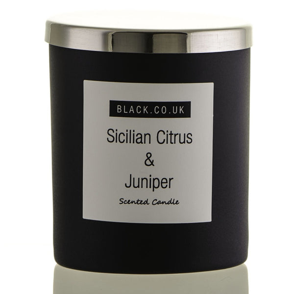 Sicilian Citrus and Juniper Scented Candle - Matt Black Glass