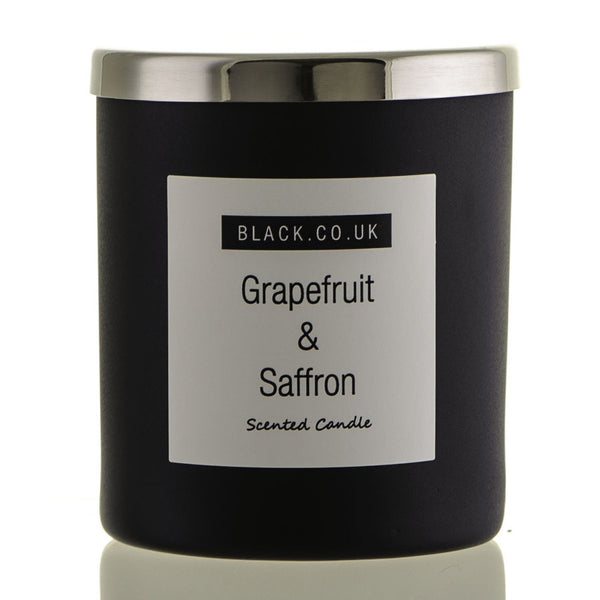 Grapefruit and Saffron Scented Candle - Matt Black Glass