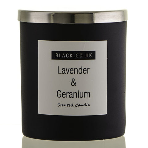 Lavender and Geranium Scented Candle - Matt Black Glass