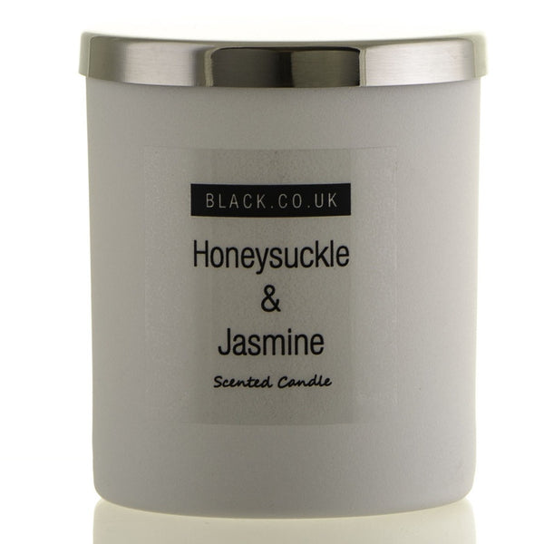 Honeysuckle and Jasmine Scented Candle - Matt White Glass