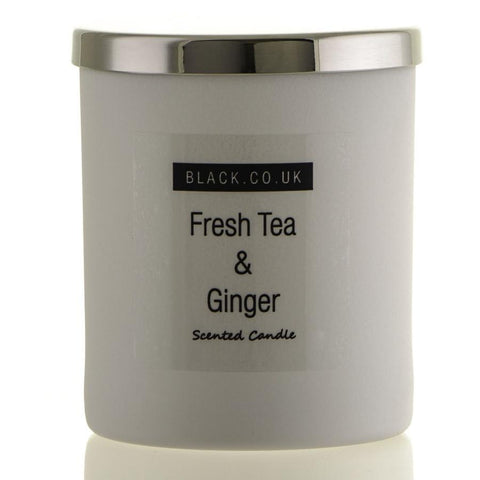 Fresh Tea and Ginger Scented Candle - Matt White Glass