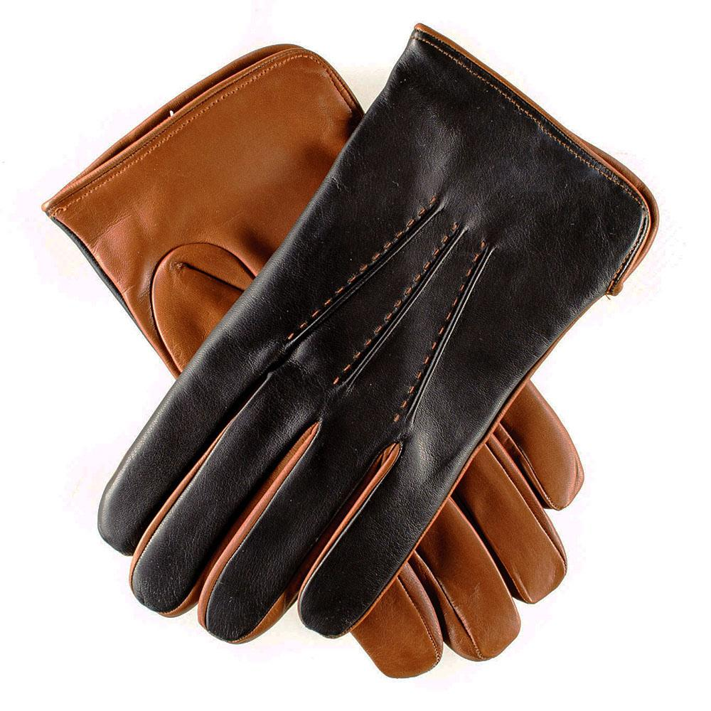f2a2b182c Men's Black and Tobacco Italian Leather Gloves - Cashmere Lined ...