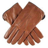 Men's Tan Brown and Black Leather Gloves - Cashmere Lined
