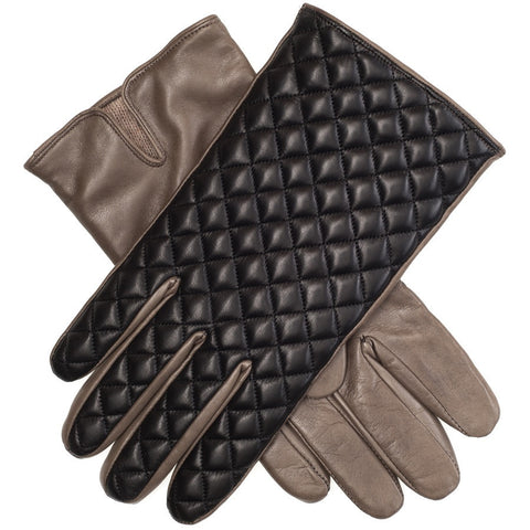 Black and Khaki Quilted Leather Gloves