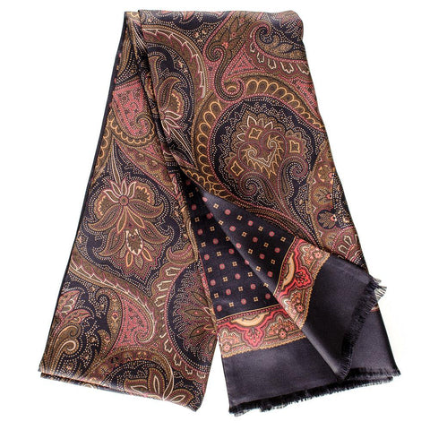 Monate Black and Burgundy Italian Silk Scarf