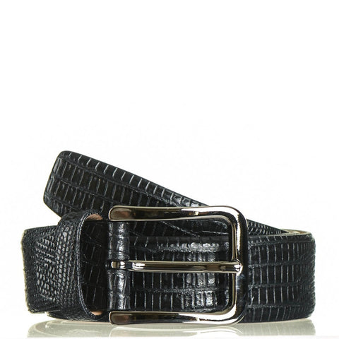 Black Crocodile Print Leather Belt
