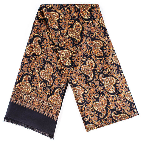 Belluno Black and Gold Paisley Silk Scarf