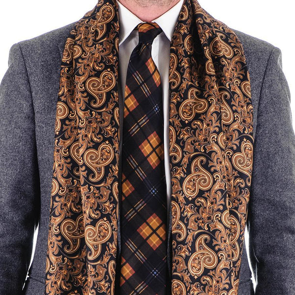 s black and gold paisley silk scarf black co uk
