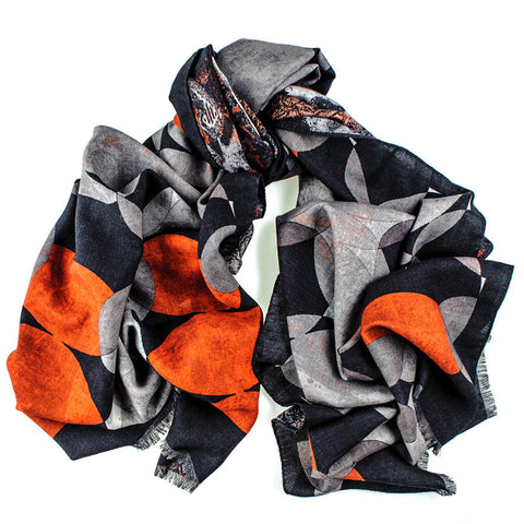 Black, Grey and Orange Reversible Wool and Silk Scarf