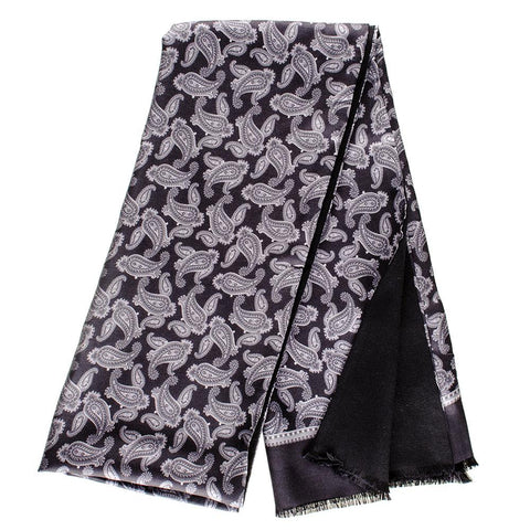 Delio Grey and Black Paisley Italian Silk Scarf