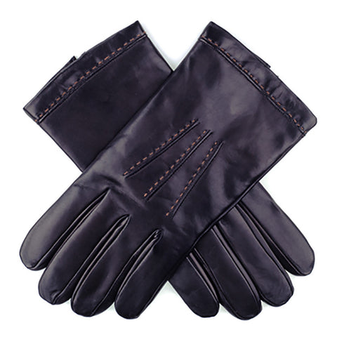 Cashmere Lined Leather Gloves with Tobacco Stitching