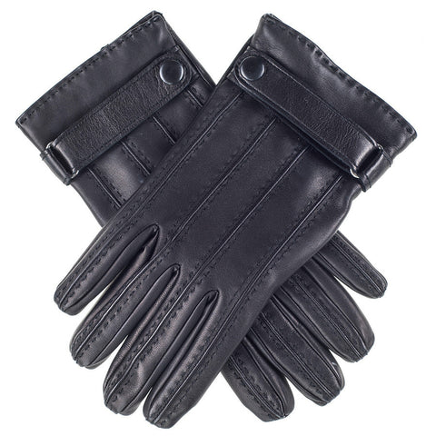 Black Leather Gloves with Strap