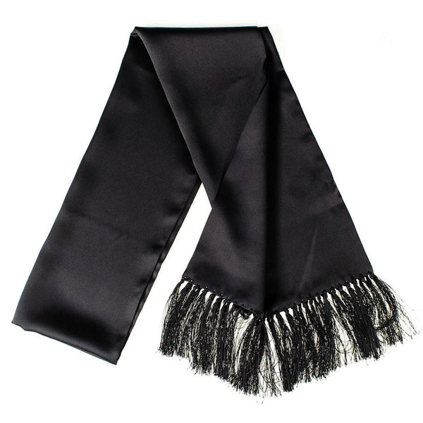 Black Double Faced Silk Satin Scarf with Hand Knotted Tassels
