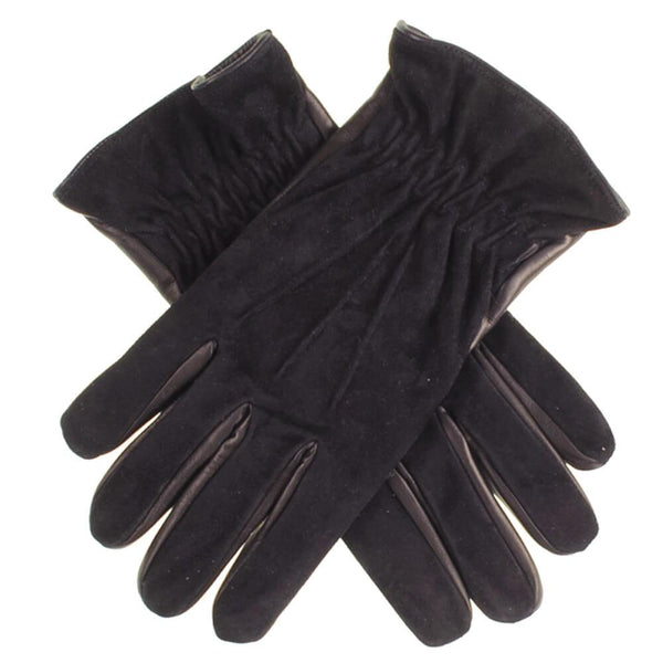 Men's Black Suede and Leather Gloves - Cashmere Lined