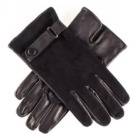 Black Suede and Leather Gloves with Strap