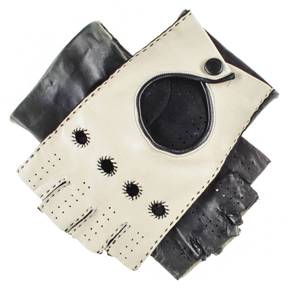 Black and Cream Fingerless Leather Driving Gloves