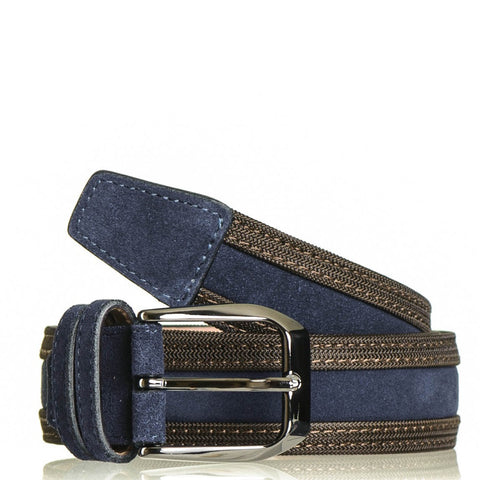 Navy and Brown Suede Belt