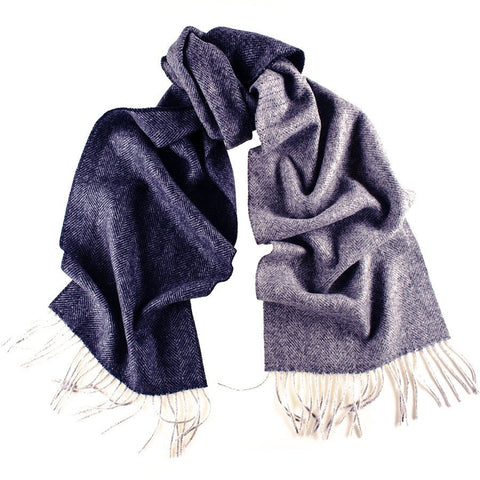 Granville Navy and Grey Herringbone Cashmere Scarf