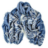 Air Force Blue and Grey Reversible Wool and Silk Scarf