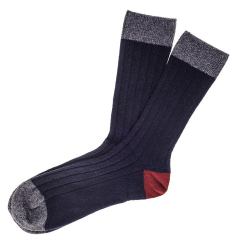 Navy Grey and Bordeaux Cashmere Socks