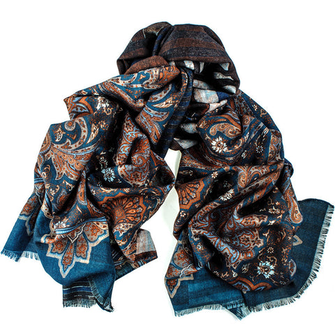 Floral and Geometric Reversible Wool and Silk Scarf