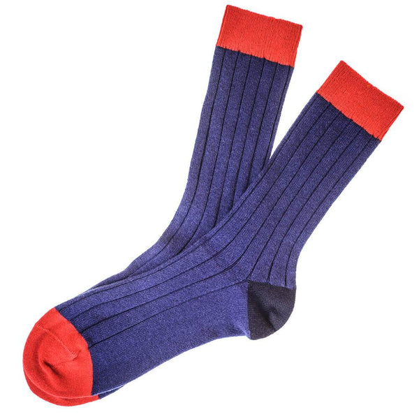 Blue Red and Navy Cashmere Socks
