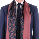 Tellaro Navy and Red Paisley Silk Scarf