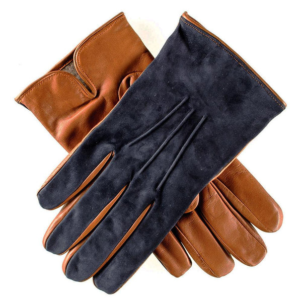 Men's Navy Suede and Tan Leather Gloves-Cashmere Lined