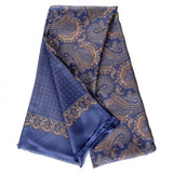 Segrino Blue and Gold Paisley Italian Silk Scarf