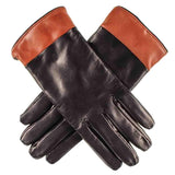 Black and Mahogany Leather Gloves