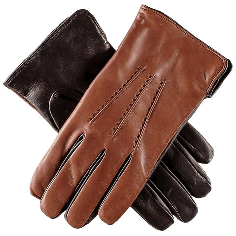 Men's Tobacco and Black Leather Gloves - Cashmere Lined