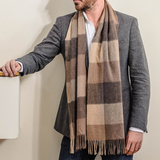 Montagu Brown Check Cashmere Scarf