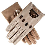 Men's Khaki and Cream Leather Driving Gloves