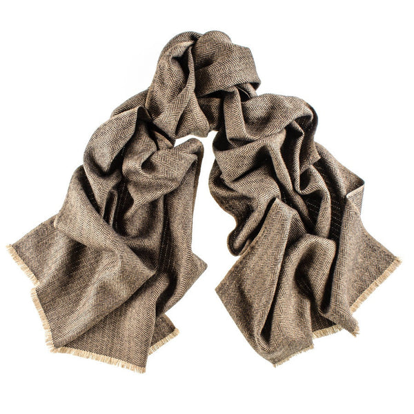Country Herringbone Silk and Merino Wool Scarf