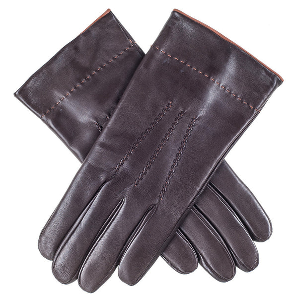 Chocolate Brown Leather Gloves with Tan Suede Cuff