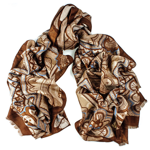 Tobacco and Biscuit Reversible Wool and Silk Scarf