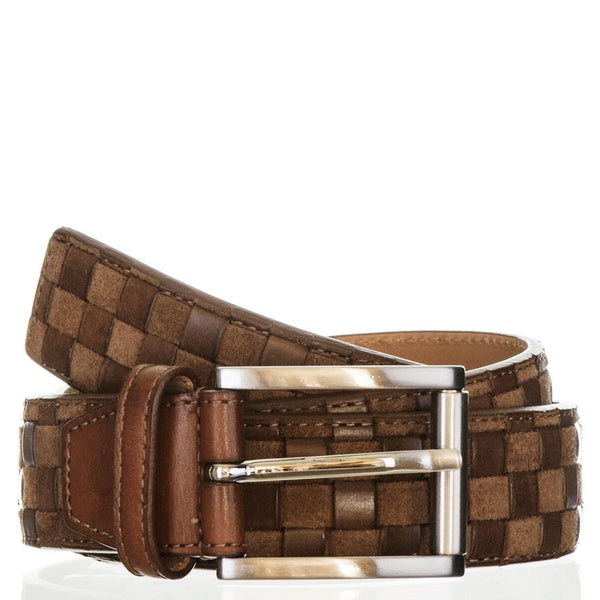 Antique Brown Italian Leather and Suede Woven Belt