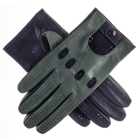 Racing Green and Navy Italian Leather Driving Gloves