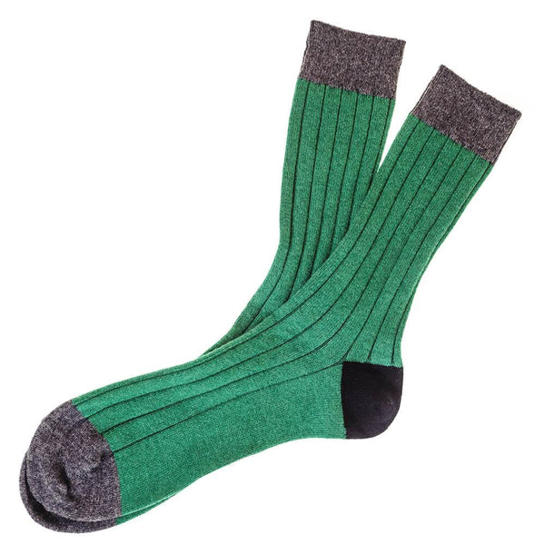Emerald Charcoal and Black Cashmere Socks