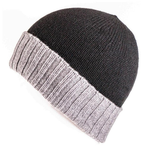 Ebony and Grey Cashmere Beanie