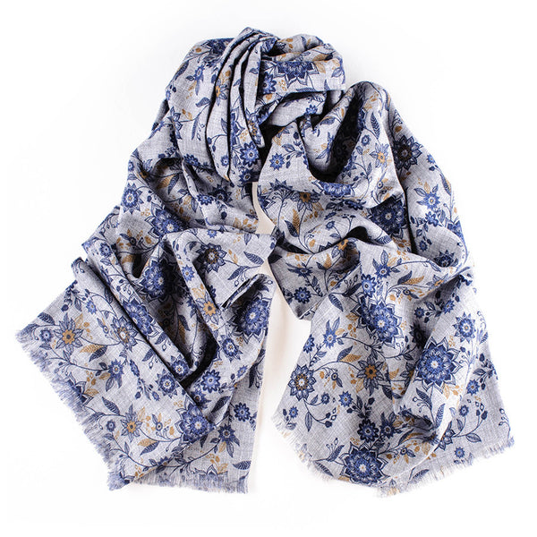 Sabino Navy and Grey Merino Wool Scarf