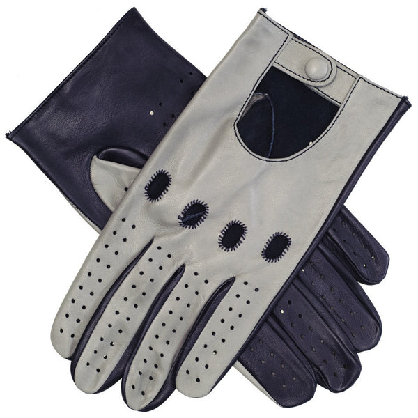 Navy and Grey Leather Driving Gloves
