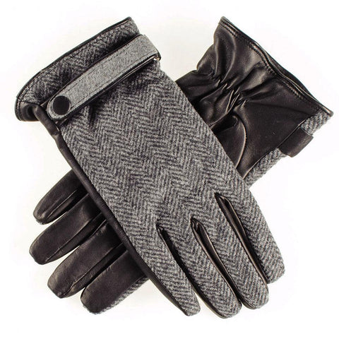 Grey Herringbone and Black Leather Gloves