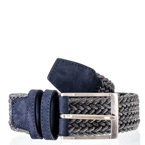 Slate Grey Italian Nubuck Leather Trimmed Woven Belt
