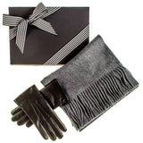 Rabbit Fur Lined Gloves and Grey Cashmere Scarf Gift Set